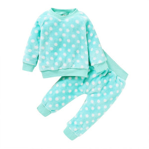Children Pajamas 2pcs Long Sleeve Flannel Kids Sleepwear Baby Girl Clothes Suits Autumn Polka Dot Child Pyjamas Nightwear D30 - shopbabyitems