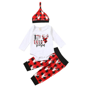 Christmas Elk Printed Newborn Baby Girls Clothes 3pcs Sets Long Sleeve Bodysuits And Pants Headband Winter Xmas Infant Suit D30 - shopbabyitems