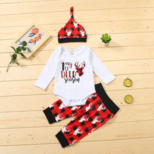 Load image into Gallery viewer, Christmas Elk Printed Newborn Baby Girls Clothes 3pcs Sets Long Sleeve Bodysuits And Pants Headband Winter Xmas Infant Suit D30 - shopbabyitems