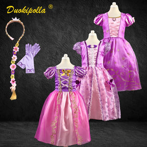 Christmas Halloween Costume Child Rapunzel Dress Birthday Party Fairy Sofia Frock for Girls - shopbabyitems