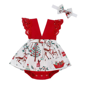 Christmas Infant Baby Girl Clothes Lace Romper Dress+Headband Outfits - shopbabyitems