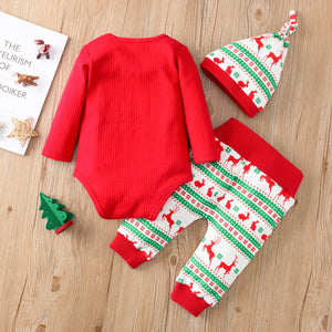 Christmas Print Sets Infant Newborn Baby Girls Boys Christmas Outfits Romper Bodysuit Pants Hat Set Winter Warm Clothes For Kids - shopbabyitems