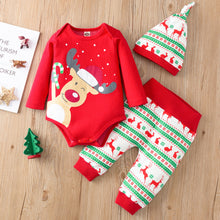 Load image into Gallery viewer, Christmas Print Sets Infant Newborn Baby Girls Boys Christmas Outfits Romper Bodysuit Pants Hat Set Winter Warm Clothes For Kids - shopbabyitems