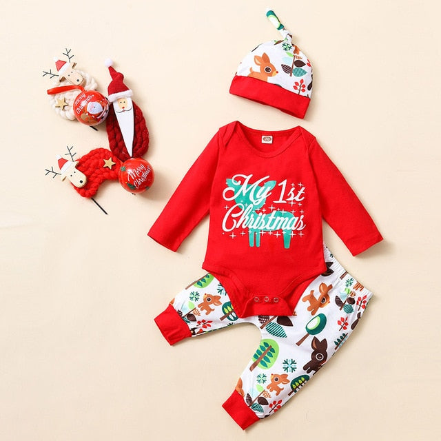 Christmas Print Sets Newborn Kids Baby Girls Boys Outfits Clothes 3Pcs Romper+Pants+Hat Set Winter Warm baby boy clothing - shopbabyitems