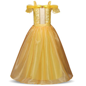 Cosplay Belle Princess Dress Girls Dresses For Beauty and The Beast Kids Party Clothing Magic Stick Crown - shopbabyitems