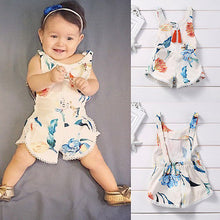 Load image into Gallery viewer, Cotton Newborn Kids Baby Girl Sleveless Lace Romper Lily printing Jumpsuit - shopbabyitems