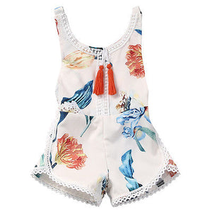 Cotton Newborn Kids Baby Girl Sleveless Lace Romper Lily printing Jumpsuit - shopbabyitems