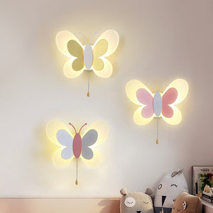 Creative Wall Mount Cartoon Cute Blue Pink Butterfly Wall Lamp LED Light - shopbabyitems