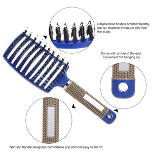 Curved Boar Bristle Hair Brush Professional Detangling Hairbrush Head Massage Comb Hairdressing Styling Comb for Women Men - shopbabyitems