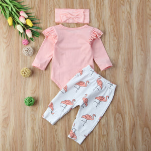Cute Infant Baby Boys Romper Flying Sleeve Tops + Long Pants Flamingo - shopbabyitems