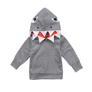 Cute Newborn Toddler Kids Boy Girl Shark Hooded Clothes Autumn - shopbabyitems