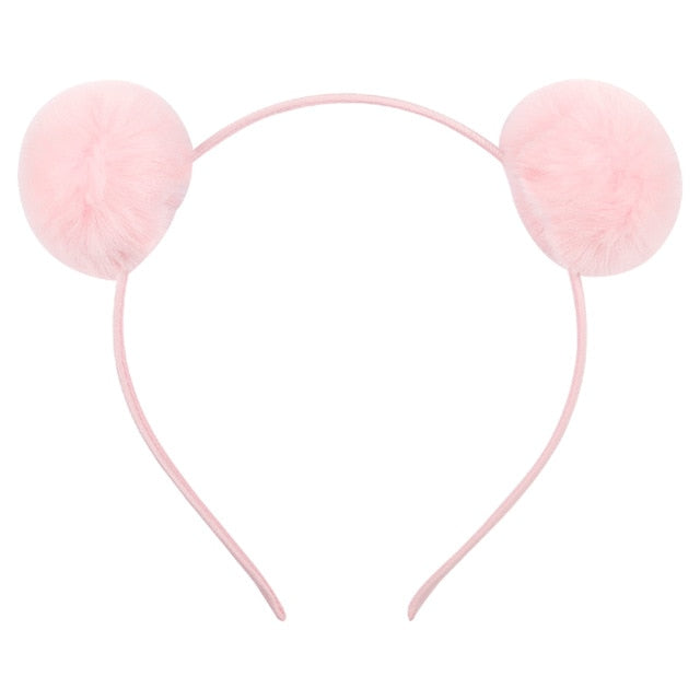Cute Solid Pom Hairband Candy Color Plush Ball Girls Headband Fur Washing Face - shopbabyitems