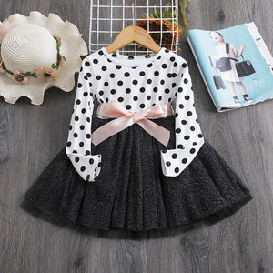 Cute Toddler Kids Long Sleeve Dresses for Girls Autumn Flower Appliques Dress Princess - shopbabyitems