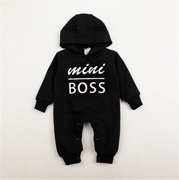 Rompers Cotton Long Sleeve mini boss Hooded kids Jumpsuits onesie - shopbabyitems
