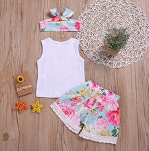Load image into Gallery viewer, Baby Floral Sleeveless T-shirt+Floral Lace Shorts+Headband Outfits - shopbabyitems