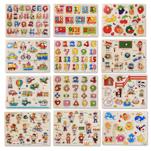 30cm Kid Early educational toys baby hand grasp wooden puzzle - shopbabyitems