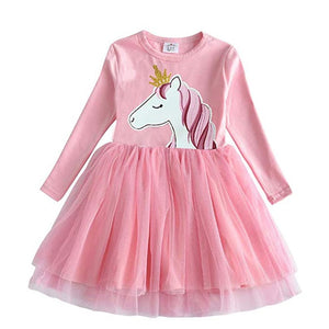 Princess Kids Dress Heart Sequined Girls Dress Winter Long Sleeve Children Clothing Tutu Flare Sleeve Kids Party Dresses - shopbabyitems