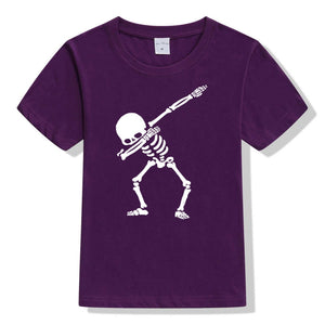 Hip Hop Dabbing Skeleton Kids T-Shirt Punk Black Shirts - shopbabyitems