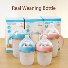 Load image into Gallery viewer, Baby Wide- Neck Pink and Blue Soft Silicone Feeding Bottle - shopbabyitems