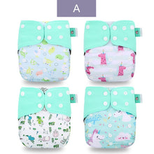 Load image into Gallery viewer, 4pcs/set Washable Baby Nappies Coffee  Cloth Diaper Cover Adjustable & Reusable Pocket Diapers - shopbabyitems