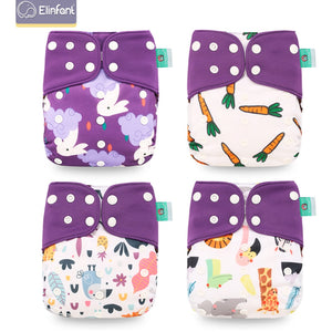 4pcs/set Washable Baby Nappies Coffee  Cloth Diaper Cover Adjustable & Reusable Pocket Diapers - shopbabyitems