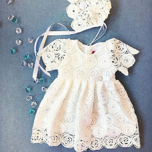 Baby Girls dress Princess Floral Lace Dress  hollow out  short sleve Party Pageant Tutu Dresses - shopbabyitems