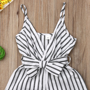 Summer Newborn Baby Girl Clothes Sleeveless Striped Bowknot Strap Romper - shopbabyitems