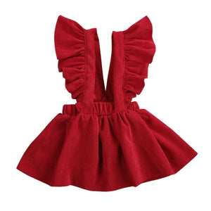 Winter Toddler Baby Girl Ruffles Sleeveless Fashion Corduroy Princess Dress Outfits - shopbabyitems