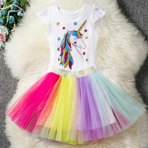Fancy Sequined Heart Designed Unicorn Dress for Girls Unicorn Party Rainbow - shopbabyitems