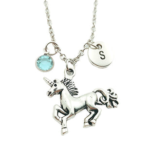 Fantasy Unicorn Creative Initial Letter Monogram Birthstone Necklace Fashion Jewelry Women Christmas Gifts  Pendants - shopbabyitems