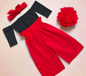 Fashion Kids Baby Girls Clothes Off Shoulder Black Top+Red Long Pants+Headband 3pcs Outfits Set Princess Party Clothing for 1-6T - shopbabyitems
