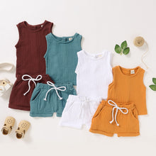 Load image into Gallery viewer, Fashion Summer Kids Baby Girls Boys Outfit Suit Cotton Linen Clothes Set Toddler Solid Casual Vest Tops Short Pants 2Pcs Set Q30 - shopbabyitems