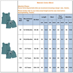 Fashion Summer Kids Baby Girls Boys Outfit Suit Cotton Linen Clothes Set Toddler Solid Casual Vest Tops Short Pants 2Pcs Set Q30 - shopbabyitems