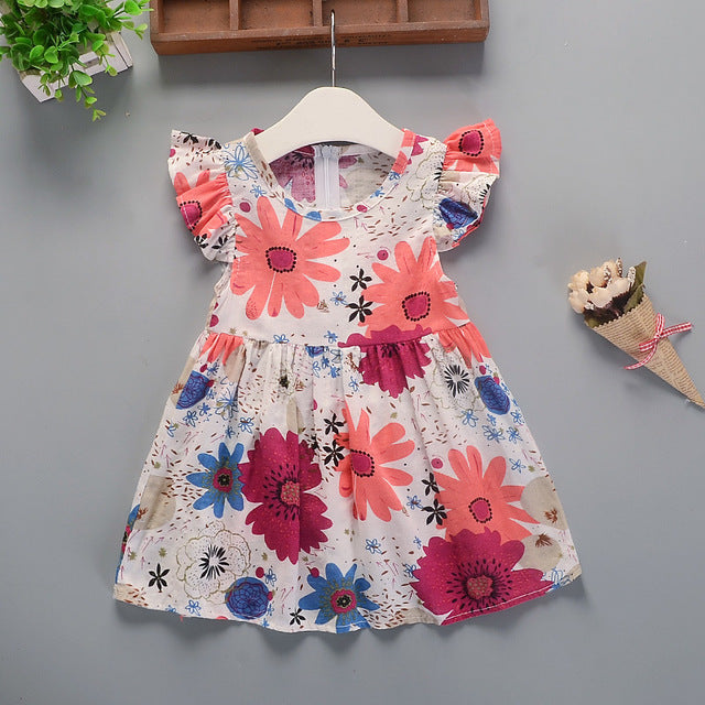 Summer New Girl Floral Dress Baby Cotton Floral Princess Dress Dresses - shopbabyitems