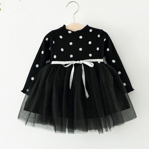 Girls Dress Autumn New Dots Stitching Net Yarn Princess Dress Long Sleeve Baby Girls Dress Children Clothes Girls Clothes - shopbabyitems