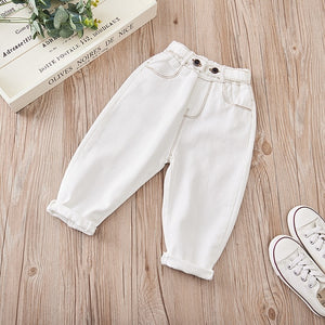 Girls Jeans for Kids spring autumn Trousers Children Jeans Kids Fashion Denim Pants Baby Boys Jean Infant Clothing toddler white - shopbabyitems