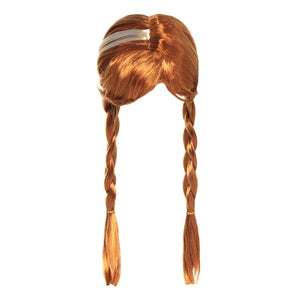 Girls Little Mermaid Red Wig Princess Kids Elsa Anna Aurora Cosplay tangled Braid Jasmine Moana Unicorn Hair For Party - shopbabyitems