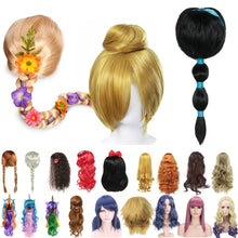 Load image into Gallery viewer, Girls Princess Dress up Accessories Headgear Synthetic Hair Jasmine Elsa Wig Rapunzel Braid Descendants 3 Mal Evie Cosplay Wigs - shopbabyitems