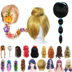 Girls Princess Dress up Accessories Headgear Synthetic Hair Jasmine Elsa Wig Rapunzel Braid Descendants 3 Mal Evie Cosplay Wigs - shopbabyitems