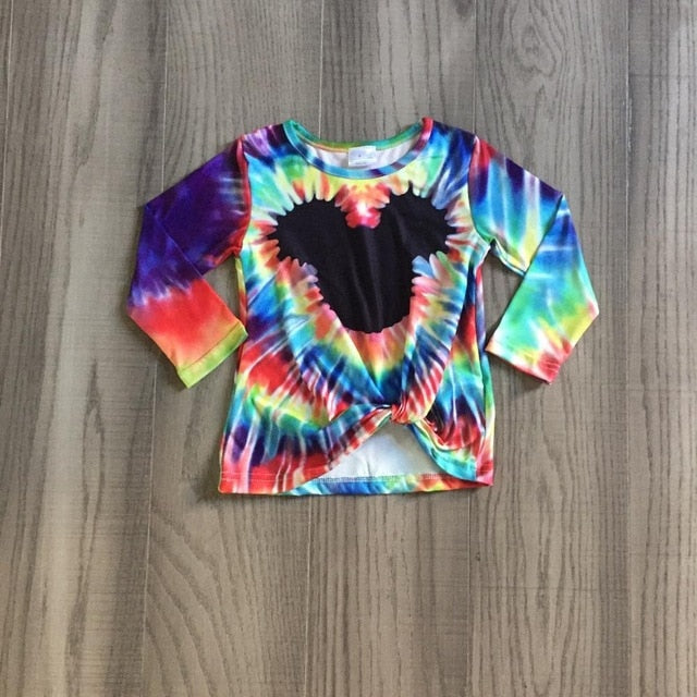 Fall/winter Outfits Baby Girls Mommy &Me Tie Dye Mouse Tie Knot Cotton Milk Silk Clothes Children Top Boutique - shopbabyitems