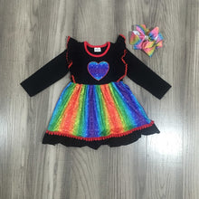 Load image into Gallery viewer, Spring Valentine's Day Baby Girls Cotton Children Clothes Rainbow Love Heart Shape Twirl Dress Knee Length Match Bow - shopbabyitems