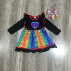 Spring Valentine's Day Baby Girls Cotton Children Clothes Rainbow Love Heart Shape Twirl Dress Knee Length Match Bow - shopbabyitems