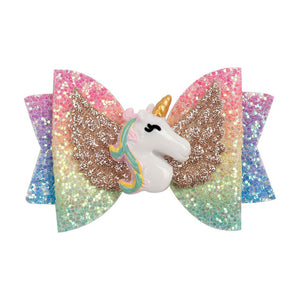 "Hair Accessories 3"" Chunky Glitter Hair Bow For Kids Cute Unicorn Wings Hairpins - shopbabyitems"
