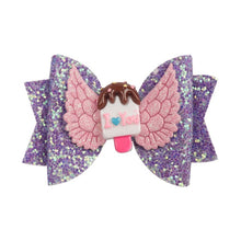 "Load image into Gallery viewer, Hair Accessories 3"" Chunky Glitter Hair Bow For Kids Cute Unicorn Wings Hairpins - shopbabyitems"