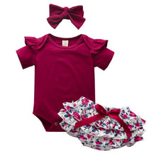 Load image into Gallery viewer, High Quality Baby Girls Clothes Short Sleeve Set Red wine Bodysuit+Floral PP Pant+Headband Summer Infant Baby Clothing Suit D30 - shopbabyitems