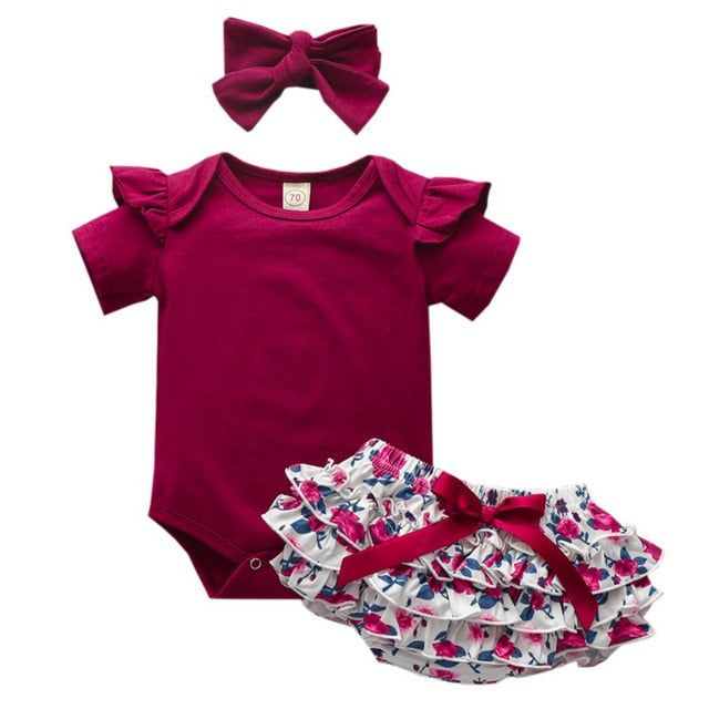 High Quality Baby Girls Clothes Short Sleeve Set Red wine Bodysuit+Floral PP Pant+Headband Summer Infant Baby Clothing Suit D30 - shopbabyitems