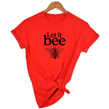 Load image into Gallery viewer, Honeybee Women T-shirt Let it Bee Graphic Short Sleeve Shirts - shopbabyitems