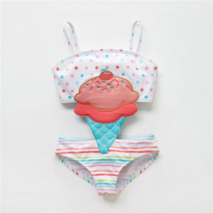 Summer Baby Girl Swimsuit Fused Polyester Spandex Cute Animal Kids Swimwear Baby Bikini Girl 1T-8T swimwear child - shopbabyitems