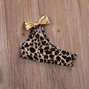 Hot Kids Baby Girls 3pcs Swimwear Leopard Print One Shoulder Bikini Set+Headband - shopbabyitems