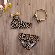 Load image into Gallery viewer, Hot Kids Baby Girls 3pcs Swimwear Leopard Print One Shoulder Bikini Set+Headband - shopbabyitems